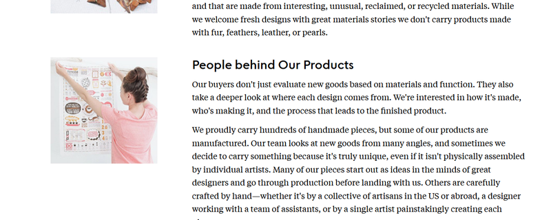 A page from the Uncommon Goods website describing the items and artisans featured on the site.