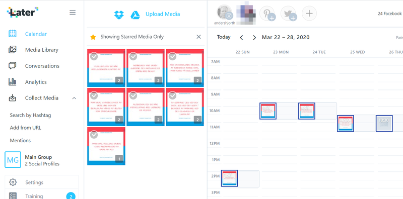 A screenshot of Later's content calendar tool to schedule Instagram posts.