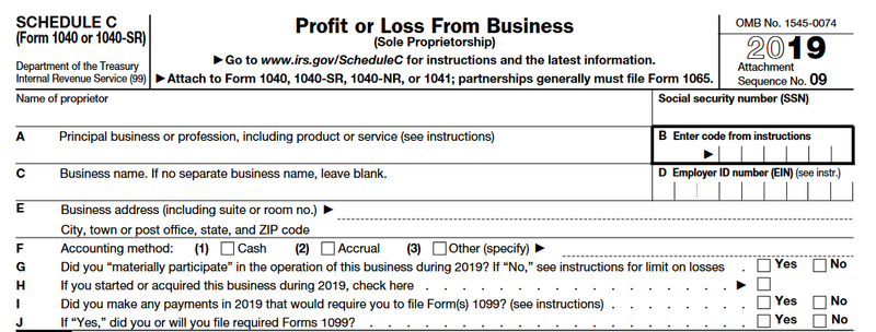 IRS Schedule C section of Form 1040