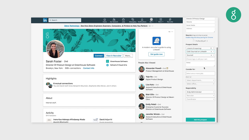Greenhouse's LinkedIn plug-in to add candidate details directly into the software.