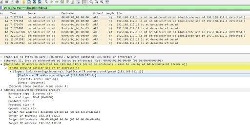 Wireshark ARP spoofing scan.