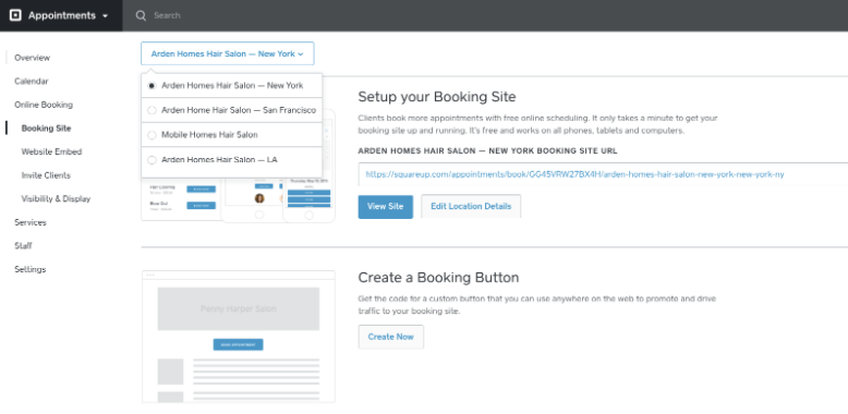 The Square Appointments area to set up a booking page or create a booking button.