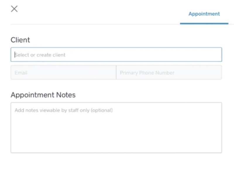 The Square Appointments client information tab to write notes.