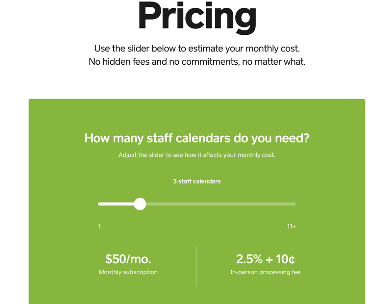 A screenshot of the sliding pricing scale for Square Appointments.