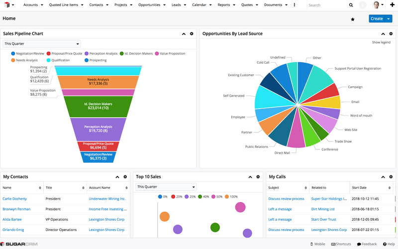 SugarCRM Overview Screen