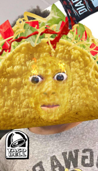 Picture of Taco Bell's taco filter on Snapchat.