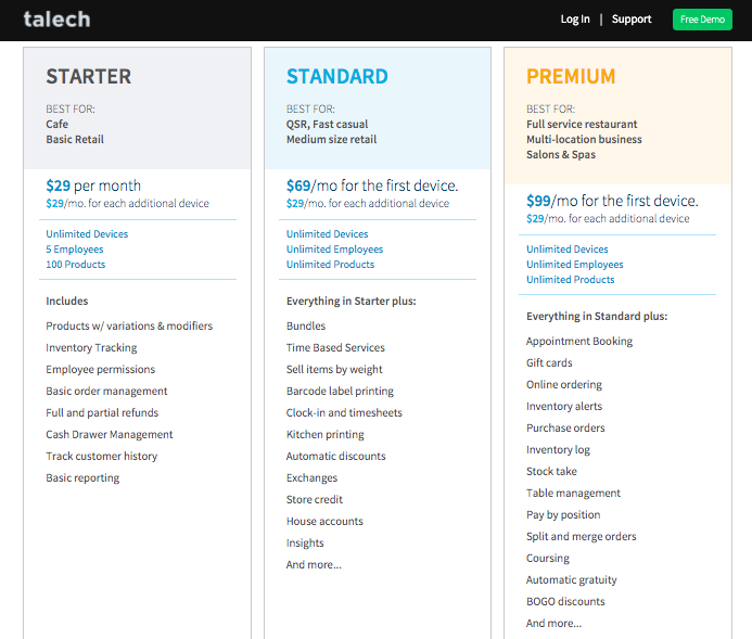 Image showing three levels of talech pricing: Starter, Standard, and Premium.