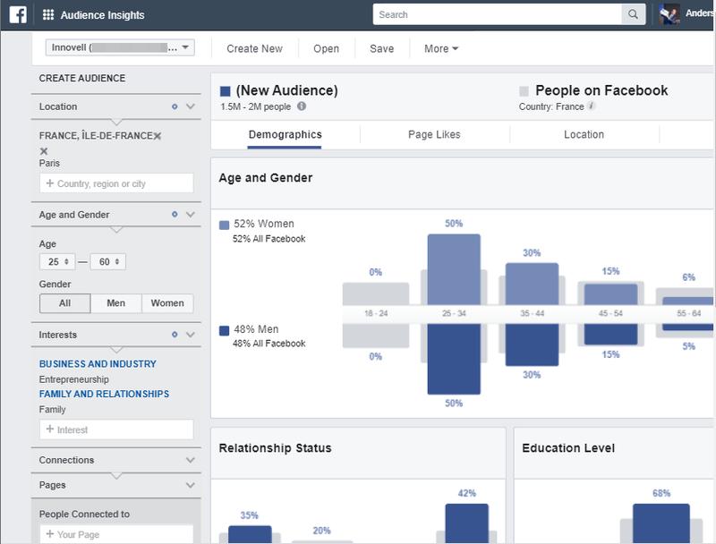 Screenshot of Facebook Audience Insights