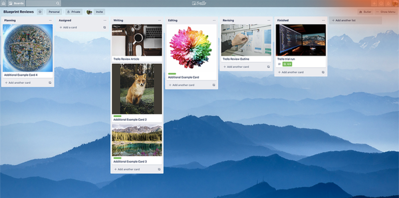 Trello's dashboard graphically shows what phase a project is in.