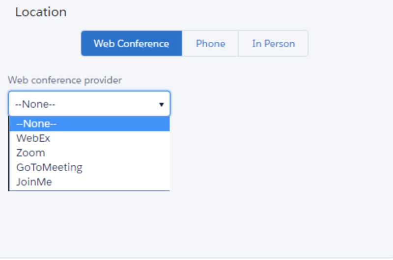 The types of web conference options available on TimeTrade.