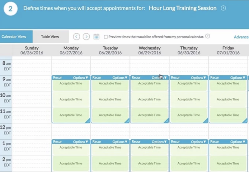 The TimeTrade appointment calendar for bookings.