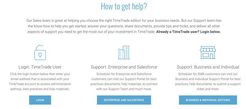 TimeTrade's help page to troubleshoot or contact support.