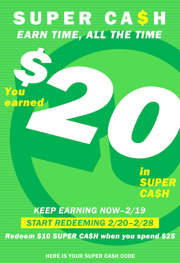 Image showing the Old Navy $20 Super Cash earned from a previous purchase and when it can be redeemed for future purchases.