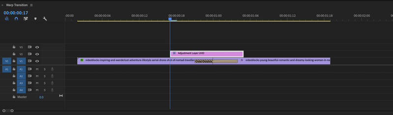 The Timeline panel in the software Adobe Premiere Pro.