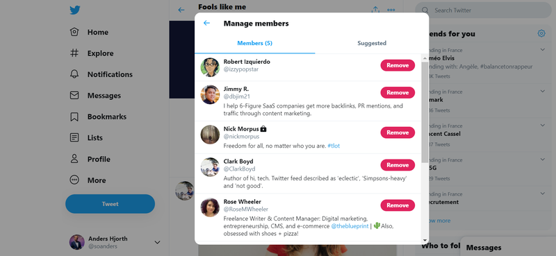 A screenshot showing members of the Twitter List of The Blueprint's social media and e-commerce writers.
