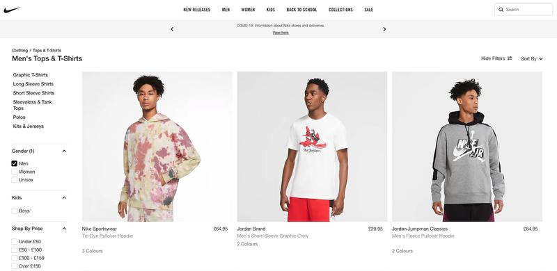 Boutique en ligne de Nike montrant une page de hauts et de t-shirts pour hommes montrant une sélection de hauts