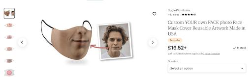 Page de la boutique en ligne montrant un masque de selfie à vendre avec option pour sélectionner la quantité