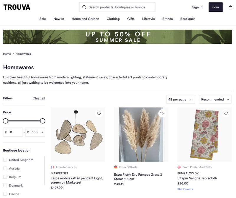 Page d'articles pour la maison de Trouva montrant trois boutiques individuelles