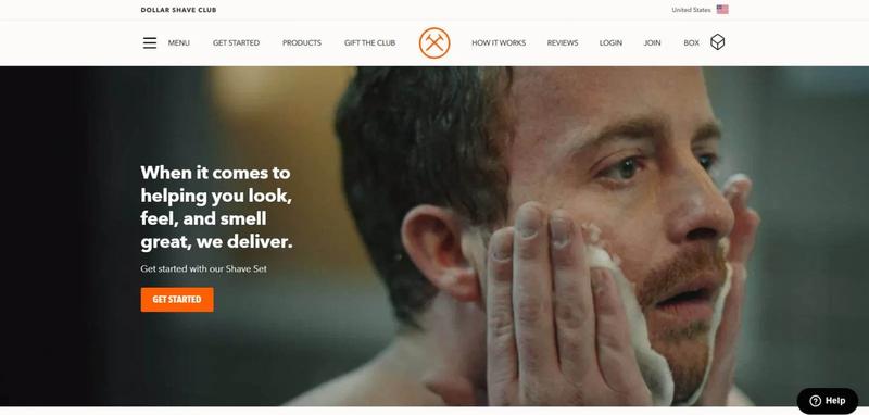 Dollar Shave Club & # x27; page d'accueil montrant l'homme avec les mains sur son visage et bouton de démarrage