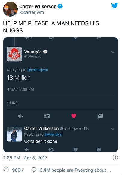 Tweet to Wendy's by Carter Wilkerson