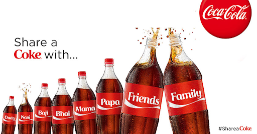 Coca-cola advertisement with first name branded bottles