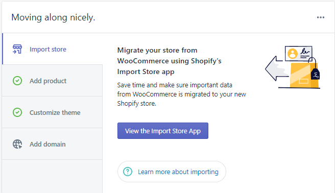 Shopify's import store tool