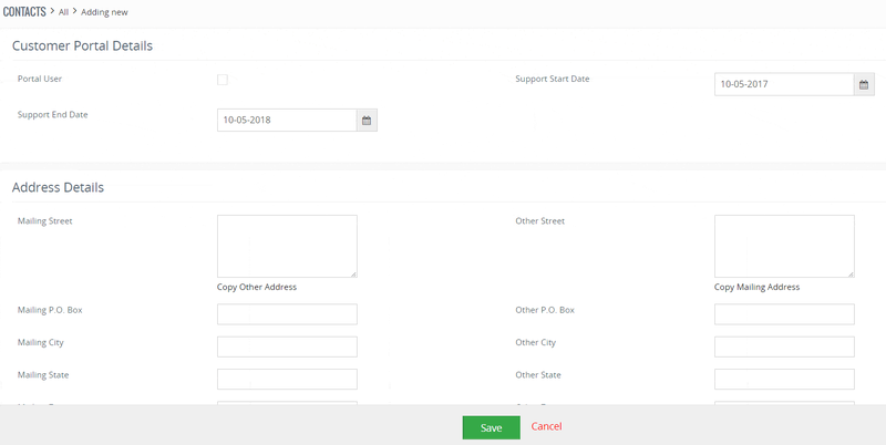 Vtiger contact creation screen with form fields to add details about the customer.