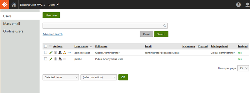 Kentico's section to manage contributors and users of the CMS.