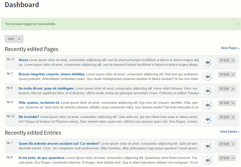 Content pages in Bolt CMS organized by most recently edited.