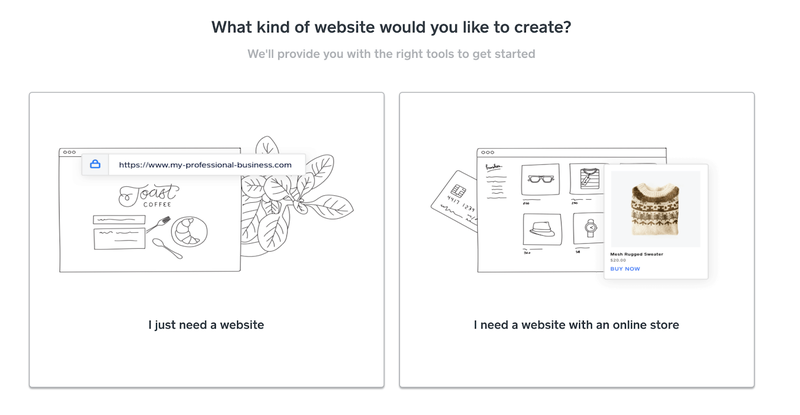 Two choices of the website (just a website and site with an online store) are presented along with line drawings of a makeup blog site and an online store selling accessories.