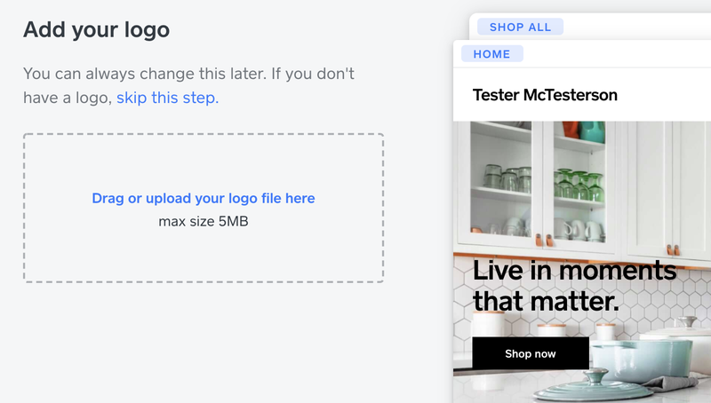 Screenshot showing a dashed line box in which you drag and drop to upload a logo next to a sample web tab displaying a kitchen.