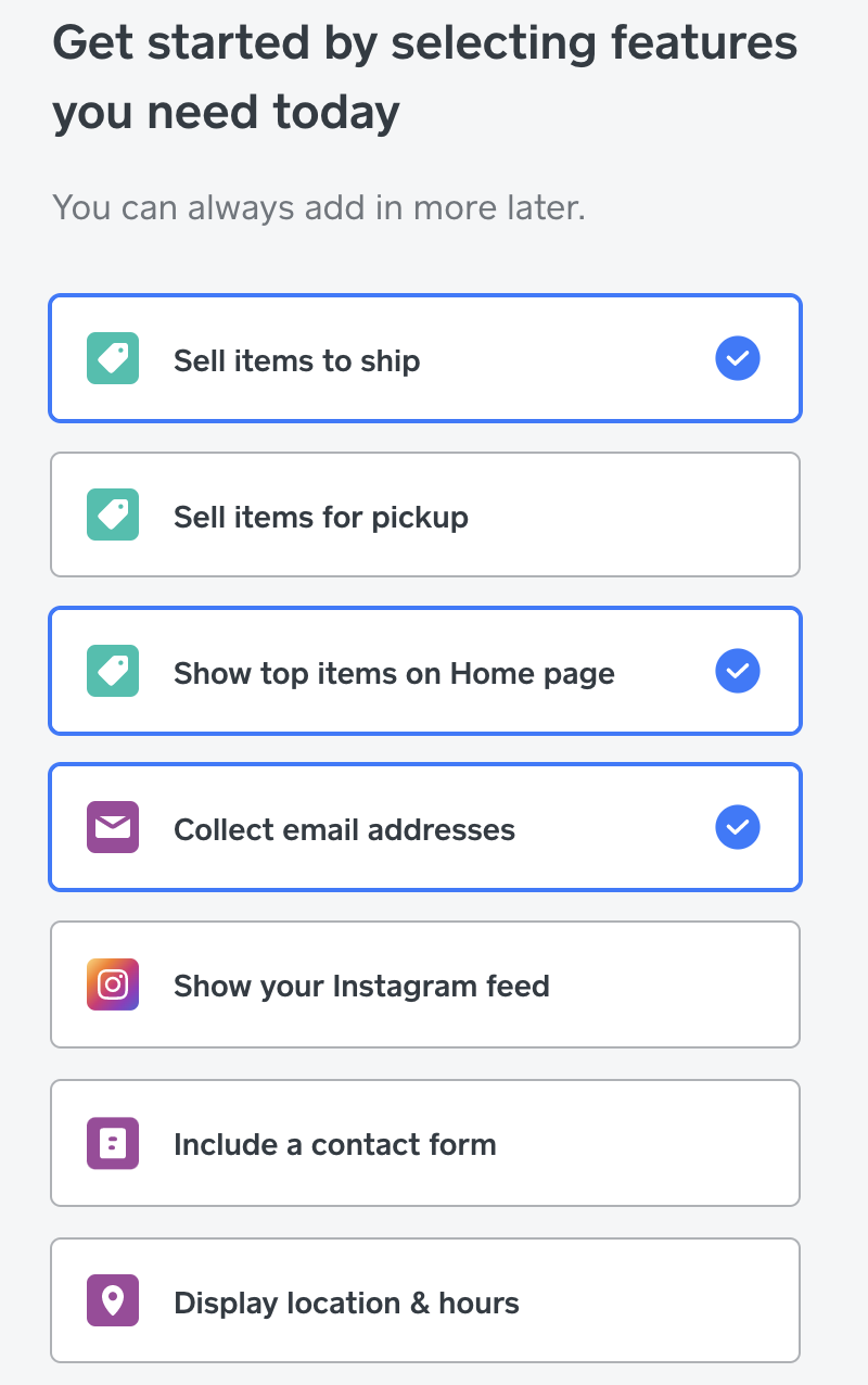 A toolbar of modules and features to select for a site, including selling items, collect emails, and to display hours.