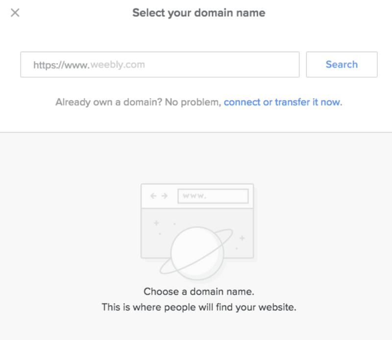 Pop up from Weebly to select your domain name with a search bar and an option to transfer an existing domain over.
