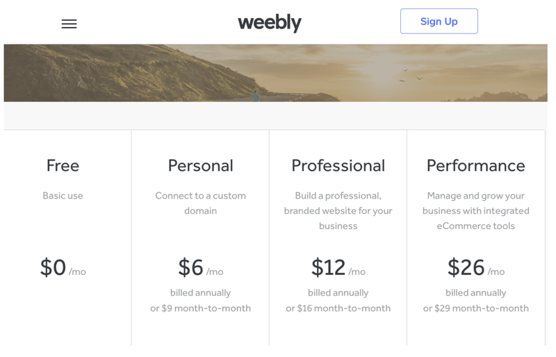 The four Weebly pricing tiers from free up to Performance ($26/month billed annually).