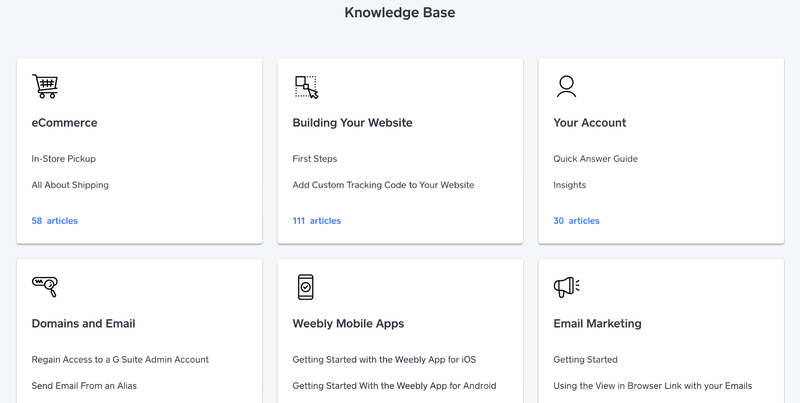 The Weebly Knowledge Base sections including e-commerce, email marketing, mobile apps, and more.