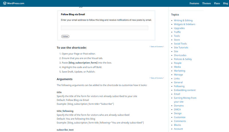 The WordPress support forum, features an article on shortcode.