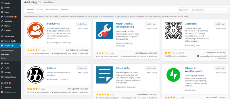 The plug-ins library on WordPress, sorts offerings by featured options.