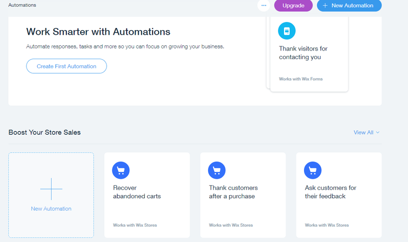 Wix automation dashboard options to build a new automation or add eCommerce emails.