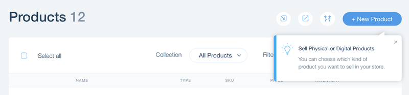 Wix eCommerce product editing page with a prompt to select Physical or Digital as your product type.