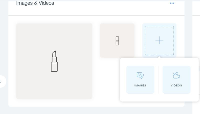 A placeholder product drawing of a lipstick with a popup option to upload an image or a video.