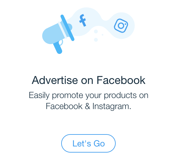 The Facebook and Instagram icons emanate from an illustrated megaphone above text for advertising on Facebook.