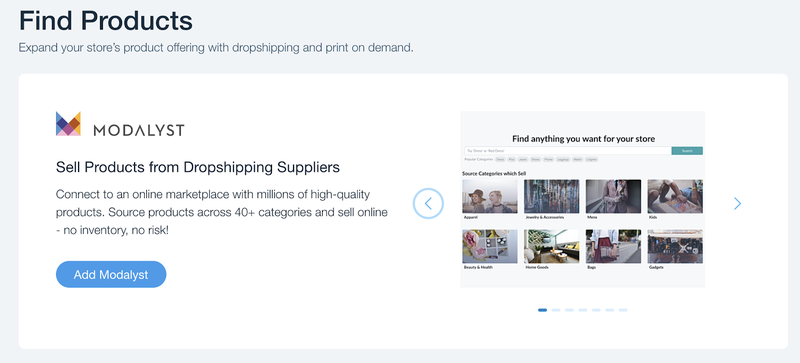"""Wix eCommerce """"Find Products"""" section with a gallery on the right and text explaining dropshipments on the left."""
