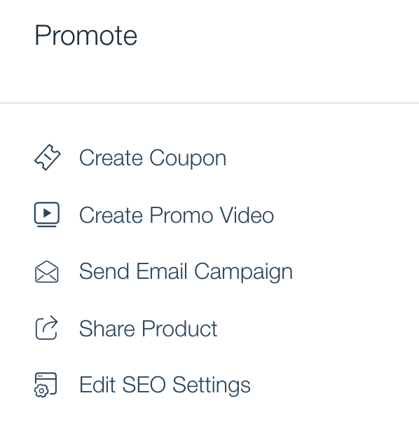 Wix eCommerce's product promotion toolbar featuring options to create a coupon, make a promo video, edit SEO and more.