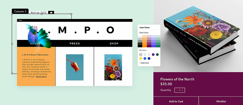 Wix's color picker tool showing a website design and a selection of colors to choose from.