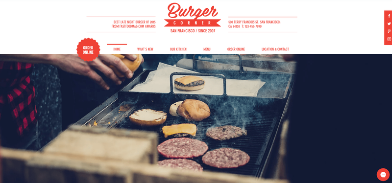 Wix theme featuring red vintage text and a photo of burgers being grilled.