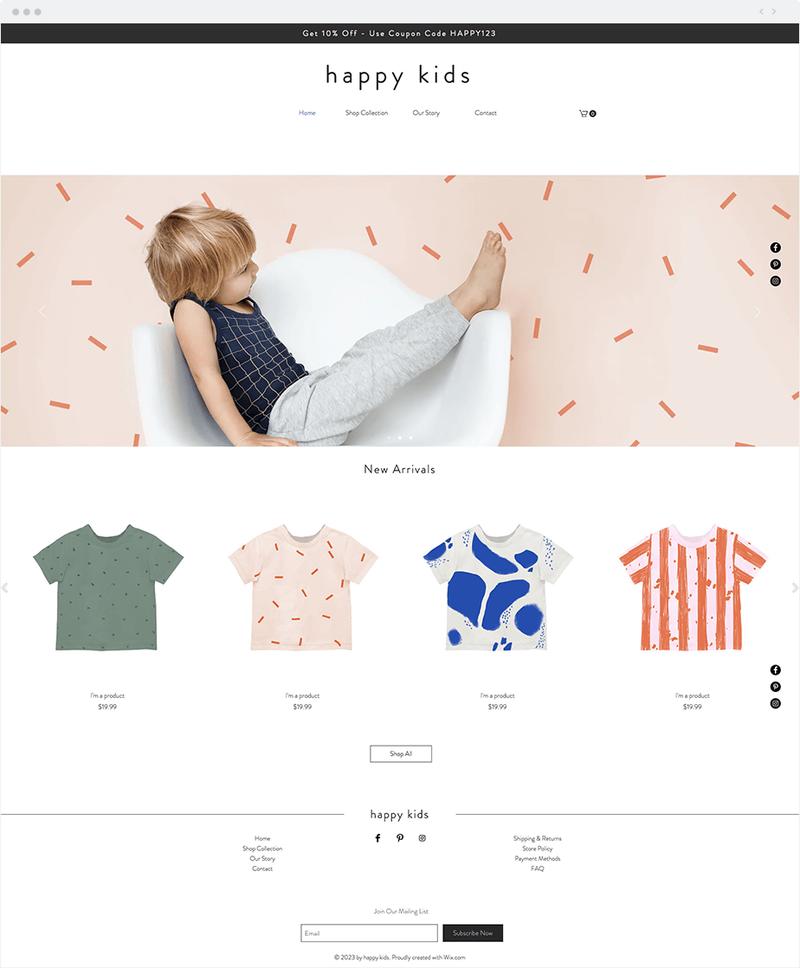 "A ""happy kids"" website showcasing children's shirts."