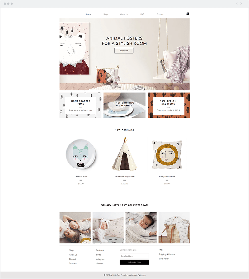 Screenshot of a kid's e-commerce site featuring room decor.