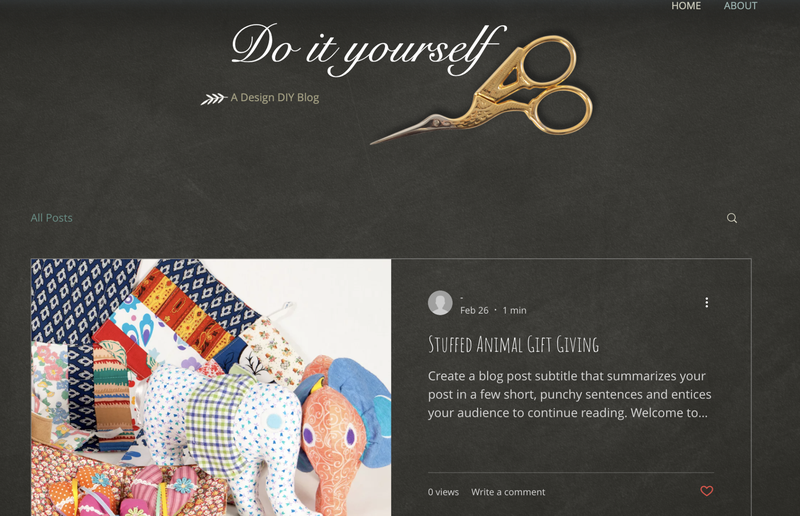 A Do-It-Yourself blog with a fabric picture and image of craft scissors.
