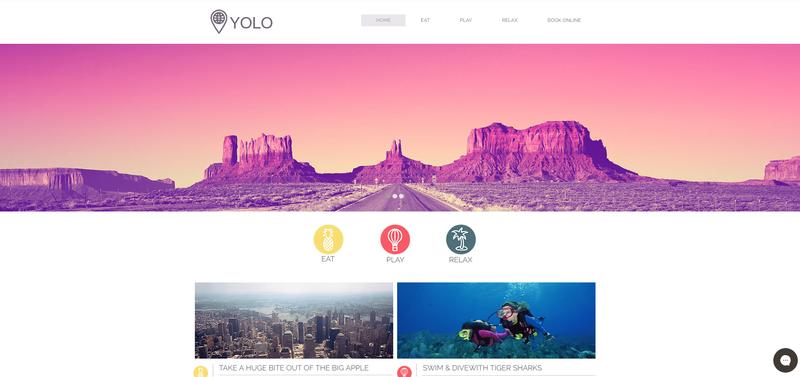 A pink-hued travel photograph hero image above icon circles.