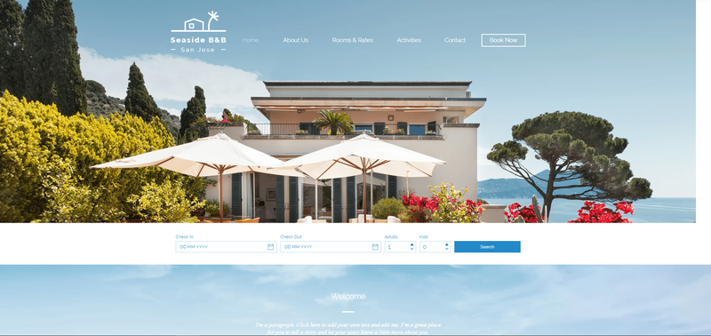 Booking page with availability checkers in front of an image of a cabana.